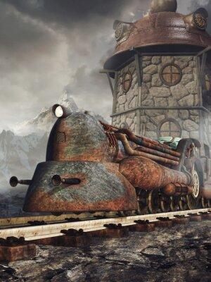 Fototapet Stara zardzewiała Lokomotywa na tle wieży