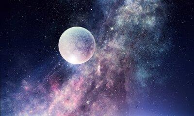Fototapet Starry sky och moon. Mixad media