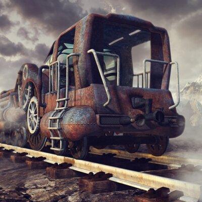 Fototapet Stary zardzewiały pociąg w górskiej scenerii