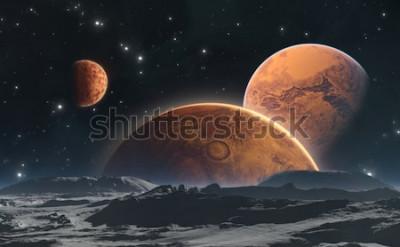 Fototapet Steniga planeter och måne, rymdbakgrund. Illustration 3d