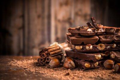Fototapet Stilla liv av brutna chokladkaka