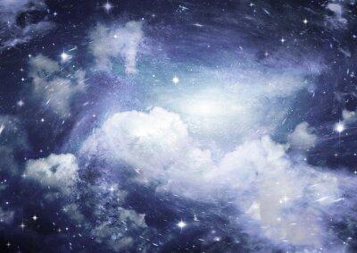 Fototapet Stjärn fält i rymden och en nebulosor