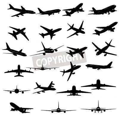 Fototapet Stor samling av olika flygplans silhuetter.