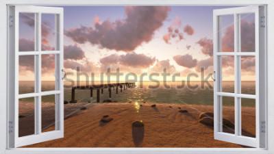 Fototapet Stranden, utsikten från fönstret.