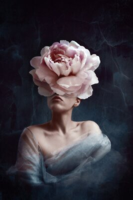 Fototapet Strange fine art concept. The body of a woman, her head is a peony
