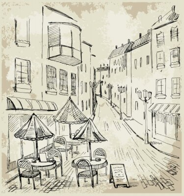 Fototapet street cafe