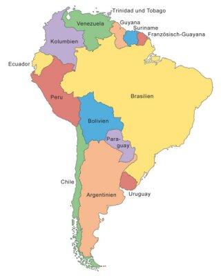 Fototapet Südamerika Karte i Farbe (mit Beschriftung)
