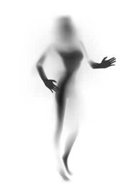 Fototapet Suddig sexig kvinna silhuett, händer. Vektor illustration.