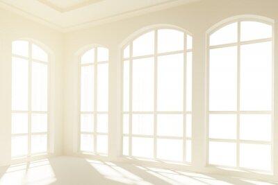 Fototapet Sunny vit inredning med stora fönster
