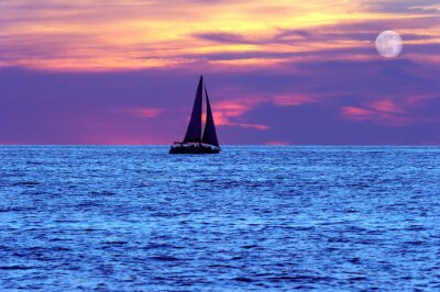 Fototapet Sunset Segelbåt månen