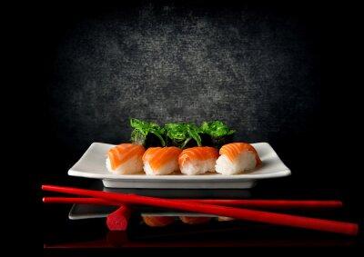Fototapet Sushi med ätpinnar