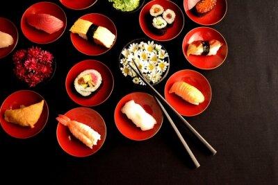 Fototapet Sushi med krysantemum