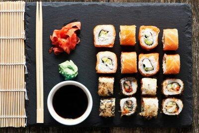 Fototapet sushi rullar