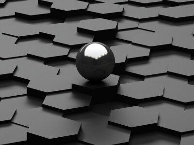 Fototapet Svart bakgrund 3d sexhörningar och stålområdet