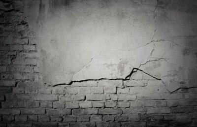 Fototapet Svart grunge ridit ut, knäckt tegelvägg konsistens