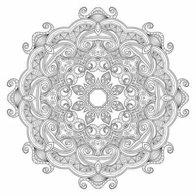 Fototapet Svart och vitt abstrakt cirkulär etniska mönster mandala.
