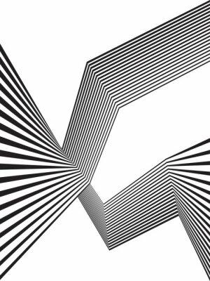 Fototapet svart och vitt mobious våg rand optisk abstrakt design