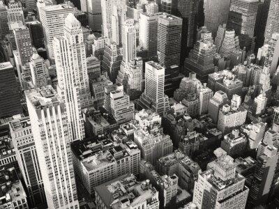 Fototapet Svart och vitt utsikt över midtown New York