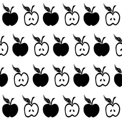 Fototapet Svart vitt äpple sömlöst mönster