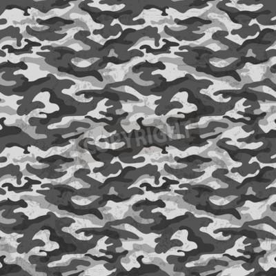 Fototapet Svartvitt kamouflage med grungeffekt bakgrund. Vektor illustration
