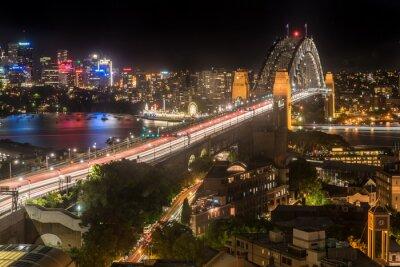 Fototapet Sydney Harbour Bridge på natten