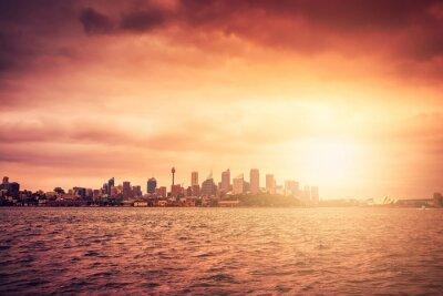 Fototapet Sydney horisont på solnedgången