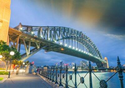 Fototapet Sydney, New South Wales. Fantastisk solnedgång utsikt över Harbour Bridge