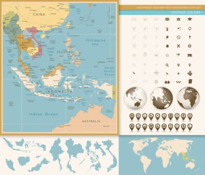 Fototapet Sydostasien Karta Detaljerad med Navigation Icon Set.