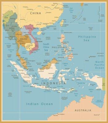 Fototapet Sydostasien Karta Detaljerad Vintage färger