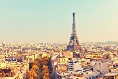 Fototapet Syn på Eiffeltornet på solnedgången