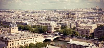 Fototapet Syn på Paris bildar Notre Dame. Instagram stil filtrerat bild