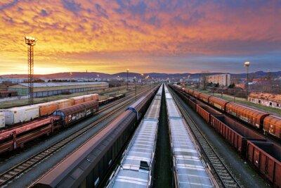 Fototapet Tåg gods - Last järnvägen industrin