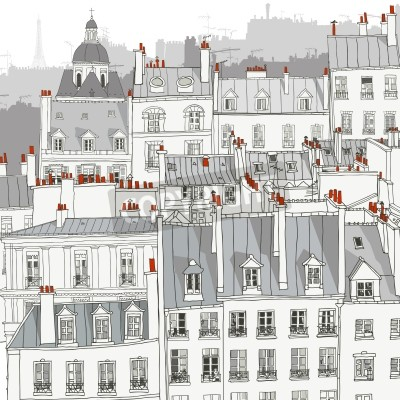 Fototapet Tak av Paris - vektor illustration