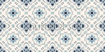 Fototapet Talavera monster. Azulejos portugal. Turkiska prydnad. Marockansk kakelmosaik. Spansct porslin. Keramiska bordsredskap, folktryck. Spansk keramik. Etnisk bakgrund. Medelhavet sömös tapet.