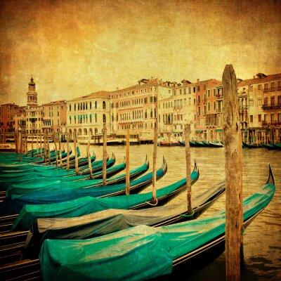 Fototapet Tappning avbildar av Canal Grande, Venedig
