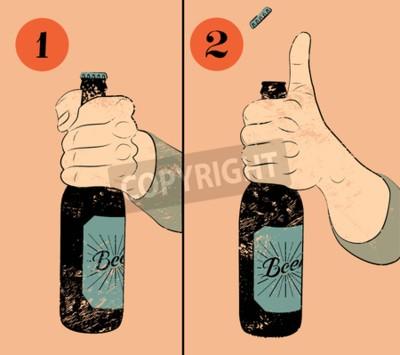 Fototapet Tappning grunge utformar öl affisch. Humoristisk affisch instruktion för öppning av en flaska öl. Hand hålla en flaska öl. Vektor illustration.