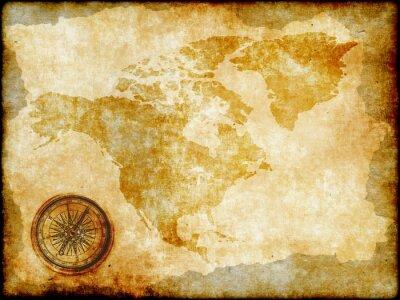 Fototapet tappning kartlägger Nordamerika