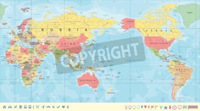 Fototapet Tappning politisk världskarta Stilla centrerad - vektor.