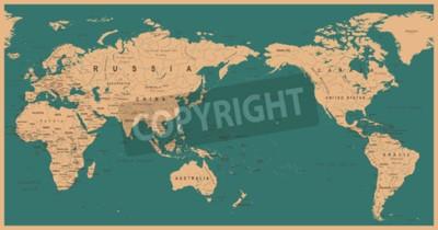 Fototapet Tappning politisk världskarta Stilla centrerad - vektor