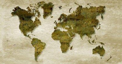 Fototapet Tappning sepia världskarta bakgrund