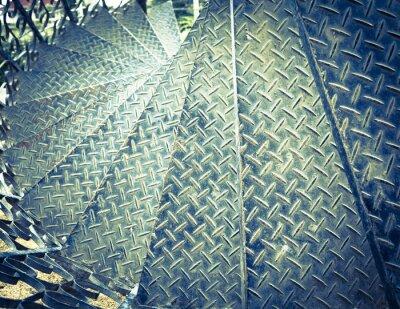 Fototapet Tappning tonen spiral järn trappa bakgrund