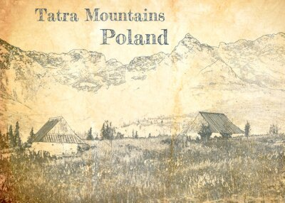 Fototapet Tatra mountain in Poland, sketch on old paper