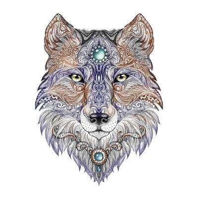 Fototapet Tatuering huvud varg vilda rovdjur