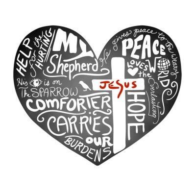Fototapet tavlan hjärta vektor med vit handskriven typografi text med kristna kors och Jesus i röda bokstäver, inspirera kyrka bulletin design, fred, kärlek och hjälp till skada konceptet