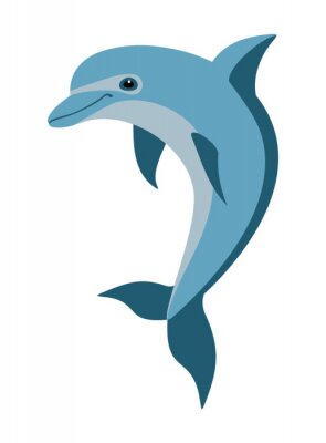 Fototapet tecknad delfin