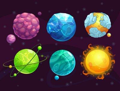 Fototapet Tecknad fantasy planeter inställd