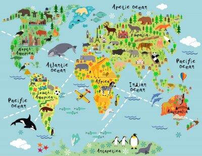 Fototapet Tecknad världskarta