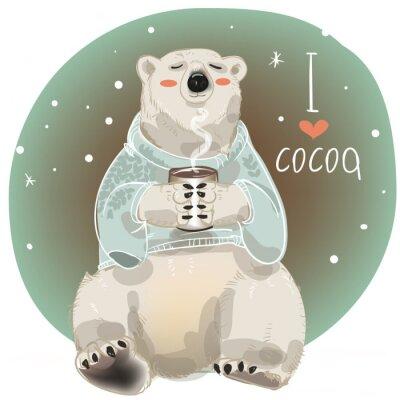 Fototapet Tecknad vit björn med kopp varm dryck