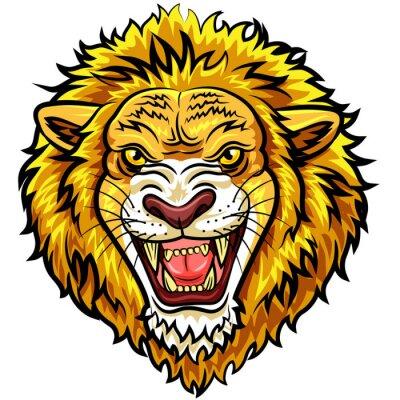 Fototapet Tecknade huvudet arg lejon maskot