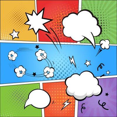 Fototapet Tecknade serier och tecknad pratbubblor på färgrik halvton